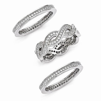 Sterling Silver Cubic Zirconia 3 Piece Ring Set