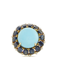 Cabuchon Turquoise and Blue Sapphire Ring