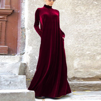 2016 New Sexy Women Celeb Turtle Neck Velvet Dresses Oversize Winter Party Cocktail Maxi Long Dress Plus