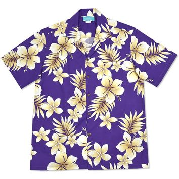 beachcomber purple hawaiian cotton shirt