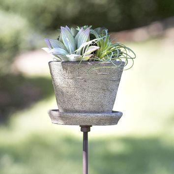 Set of 2 Garden Stakes with Terra Cotta Pots