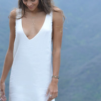 Ella White V plunge dress