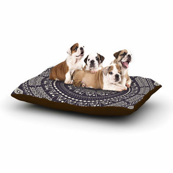 "Famenxt ""Swadesi Boho Mandala"" Black Illustration Dog Bed"