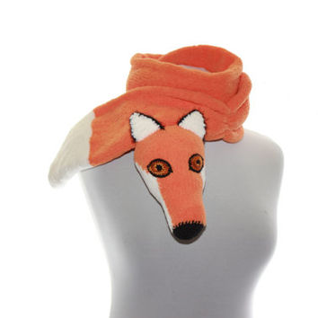 Knitted Scarf  / Hand knit fox Scarf / Fuzzy Soft Scarf / orange white / fox scarf / scarf / animal scarf