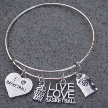 Basketball Bracelet, Basketball Bangle, Basketball Jewelry, Basketball Gift, Basketball  Team Gift, Sports Jewelry, Sports Bracelets
