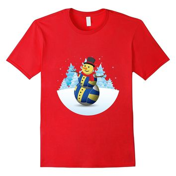 Funny Christmas Sports Volleyball Snowman T-shirt Gift