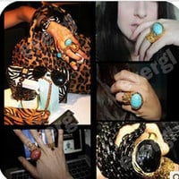Fashion Vintage Jewelry New Europe Style Big Stone Gold Stone Ring 3 Color