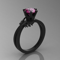 Swan 14K Black Gold 1.0 Ct Pink Sapphire Fairy Engagement Ring R1030-14KBGPS