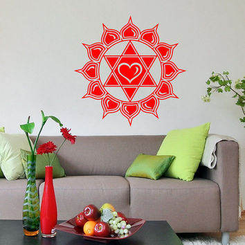Vinyl Decal Anahata Heart Chakra Lotus Flower Yoga Buddhism Housewares Wall Sticker Art Indian Design Mural Interior Home Decor SV5272