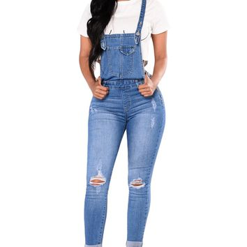Women's Light Blue Denim Laidback Distressed Overalls