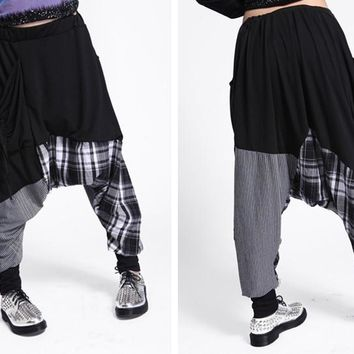 New Fashion Brand Casual Women Baggy Harem Pants Hippie Rope Plaid Patchwork Female Hip Hop Dance Sweatpants