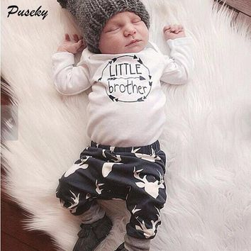 Newborn Baby Boys Little Brother Clothes Sets Tops Romper + Long Pants Cute Animals Cotton Hat Outfits Set Clothes 0-24M