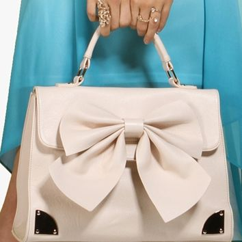 Nude Bow Top Handle Handbag