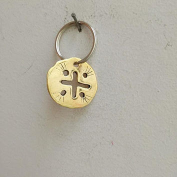 Brass cross key ring, brass cross keychain, golden cross charm with holes, golden disk with cross on alloy ring, cross accessories