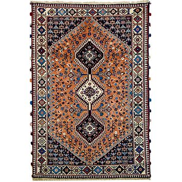 Oriental Yalamah Brilliance Persian Tribal Rug, Orange/Blue
