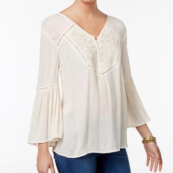 Style & Co Embroidered Bell-Sleeve Top, Only at Macy's - Tops - Women - Macy's