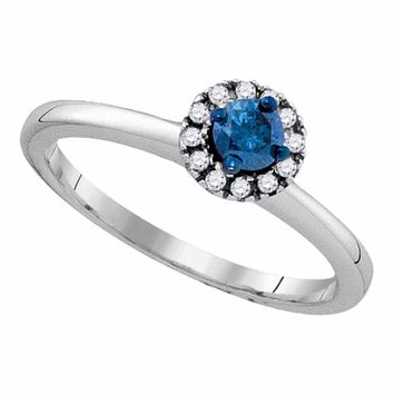 Sterling Silver Womens Round Blue Color Enhanced Diamond Solitaire Bridal Wedding Engagement Ring 1/4 Cttw