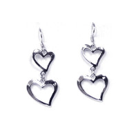 Sterling Silver Two Graduated Open Heart Hook Earrings