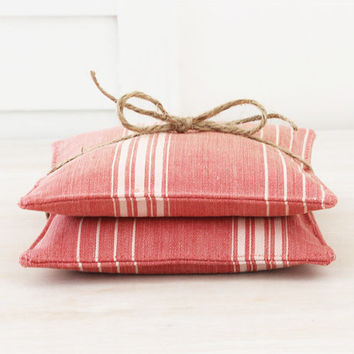 Lavender Sachets, Vintage Red Ticking Stripe, French Country Decor