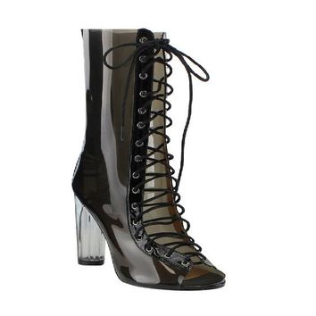 New Women Peep Toe Corset Lace Up Summer Boots