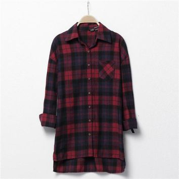 Korean Stylish Casual Thicken Plaid Long Sleeve Shirt Blouse [6047363777]
