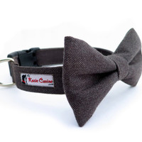 "Herringbone Dog Collar Bow Tie Set (Matching 3.5"" Removable Bow Tie INCLUDED)"