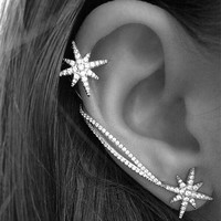 New Design Hot New Fashion Star Ear Cuff Trendy Personality Luxury Clip Earrings For Women Fashion Jewelry