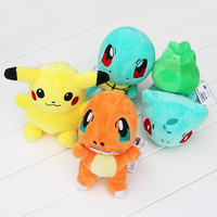 4PCS/lot Pokemon Game toy plush Toy Pikachu & Squirtle & Charmander & Bulbasaur stuffed animals & plush