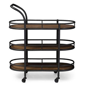Baxton Studio Karlin Rustic Industrial Style Antique Black Textured Finish Metal Distressed Wood Mobile Kitchen Bar Serving Wine Cart Set of 1