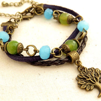 Tree Beaded Bracelet with Agate Stones