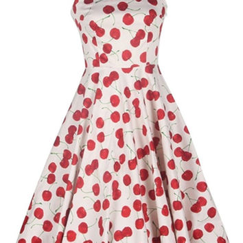 Cherry Print Sleeveless Chiffon Tent Dress