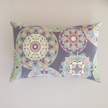 Outdoor cushion - grey and pastel medallion designer lumbar cushion cover - FREE SHIPPING Australia wide