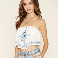 Summer new sexy blue embroidered short paragraph Bra wrapped chest