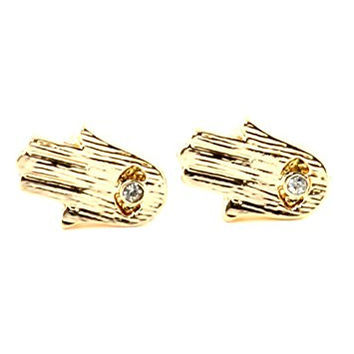 Hamsa Stud Earrings Gold Tone EJ33 Hand of Miriam Evil Eye Judaica Fashion Jewelry