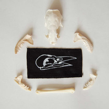 bird skull fabric patch // crow skull// raven skull // occult // screen printed // white on black