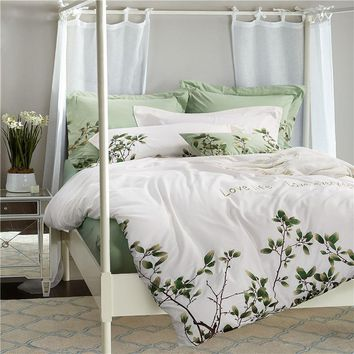 TUTUBIRD Luxury Embroidery Egyptain Cotton Bedding Set 4pcs white and green leaf print European Style princess BedLinen for girl