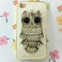 New Chic Glam Bling Sparkle Vintage Metal Owl Beige Sheep Leather Gold Edge iPhone Case