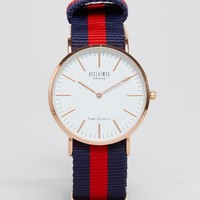 Reclaimed Vintage Canvas Stripe Watch In Navy/Red at asos.com