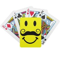 Smiley Face with Mustache Bicycle® Playing Cards from Zazzle.com