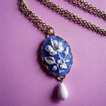 Sky Blue Hibiscus Flower Cameo Necklace