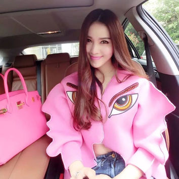Fashion Summer Street Style Pink Jacket Women Eyes Embroidery