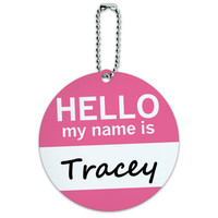 Tracey Hello My Name Is Round ID Card Luggage Tag