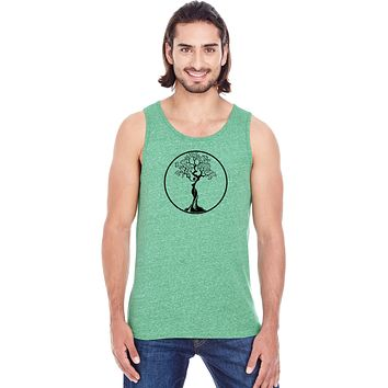 Yoga Clothing For You Black Tree of Life Circle Triblend Yoga Tank Top