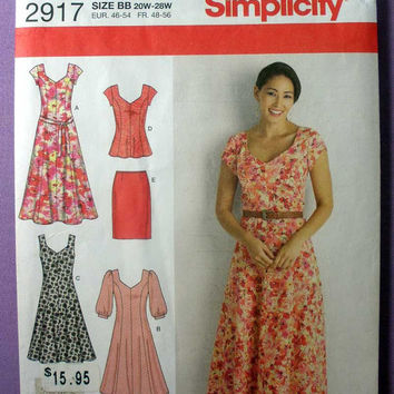 Women's Summer Dress, Tunic Top, Skirt, Tie Belt Simplicity 2917 Plus Size 20, 22, 24, 26, 28 Bust 42, 44, 46, 48, 50 Sewing Pattern Uncut