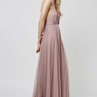 Tulle Lace-Up Maxi Dress - Topshop