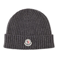 Men's Cashmere Ribbed Solid Skull Cap, Charcoal - Moncler - Charcoal