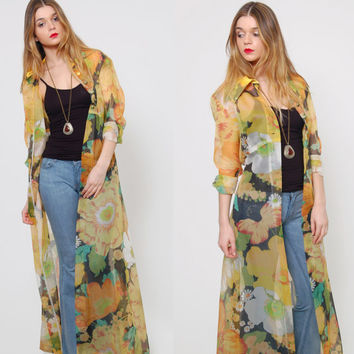 Vintage 60s Sheer FLORAL Duster OVERSIZED Floral Maxi Evening Jacket MOD Long Button Down Layering Piece