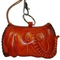 Genuine Leather Craft Coin Purse, Elephant Pattern Face Cover, Cute (Brown).
