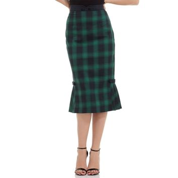 Agnes Green Plaid Pleated Pencil Skirt