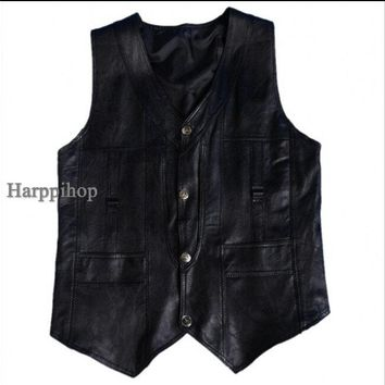 Harppihop Men genuine sheepskin leather vest spring and summer vest fur male genuine leather plus size 5XL 6XL free